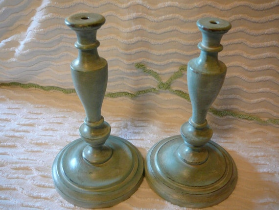 Vintage Wood Candlesticks:  Repurposed and Shabby Gorgeous