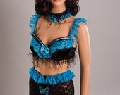 Large Black and Turquoise Lingerie set