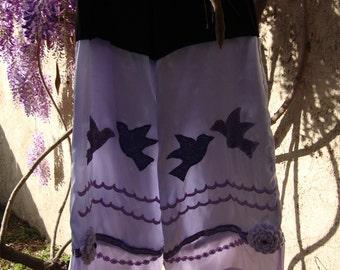 purple pants violet lilac amethyst elven gypsy festival boho harem bellydance yoga birds upcycled handmade women size large petite