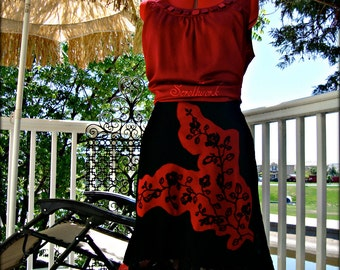 Black skirt red roses applique sheer ruffles Rambling Rose eco chic handmade altered couture upcycled