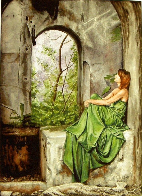 Among the Ruins watercolor print