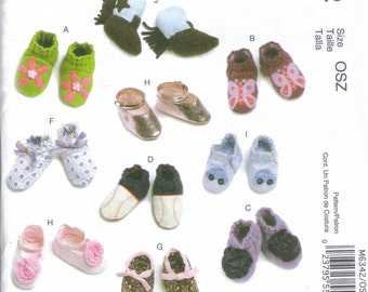 Baby Shoes Pattern McCall's 6342   9 shoe styles 1 cowboy boot  sizes  s, m, l