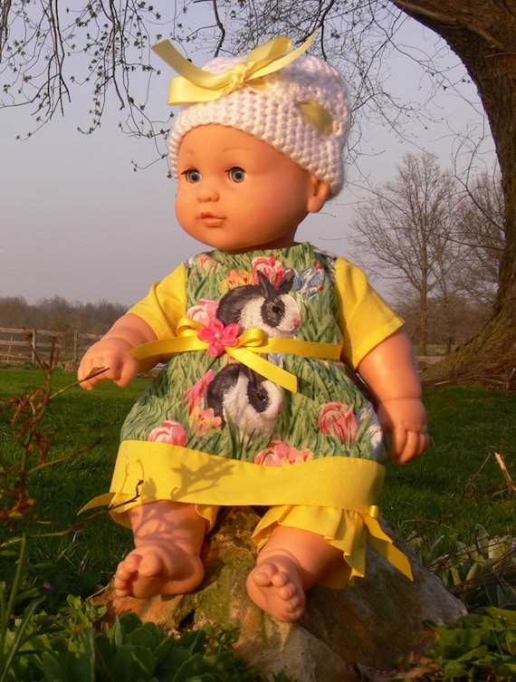 "Doll clothes Springtime Bunny  Dress & short set embroidered details Fits 15"" Bitty Baby  or Blueberry Hill Kid dolls FREE US SHIPPING"