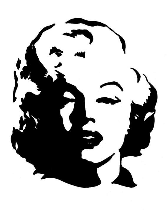 Items similar to Marilyn Monroe Pop Art Portrait 5x7 on Etsy Marilyn Monroe Face Stencil
