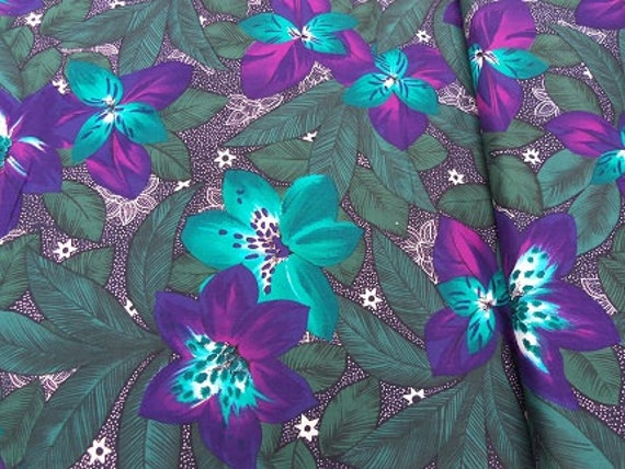 RESERVED FOR DRAGANA: 2 yds Teal and Purple flower fabric