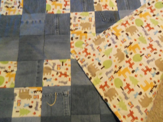 Colorful Forest Animal Baby Quilt