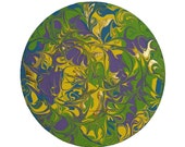 Textured Abstract Art - Green, Purple, Yellow, Blue & Metallic Gold - Free Shipping