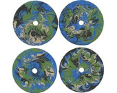 Recycled Repurposed Upcycled Painted CD's Abstract Art as Coasters - Blue Beige Green & Black - Set of Four