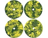 Green & Yellow Upcycled/Recycled CD's as Coasters - Set of Four - Ships for Free