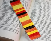 Hand Painted Watercolor Art Bookmark - Red, Brown, Orange, Yellow & Rust
