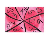 Black & Bright Pink Hearts with Numbers - Original 4x6 Watercolour Painting - Free Shipping