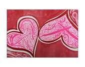 Pink, Red, Maroon & White 4x6 Original Watercolor Painting - Free Shipping