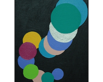 Black with Aqua, Silver, Light Blue, Soft Pink & Yellow Orange Circles Acrylic Art Painting