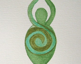 Goddess in Green & Brown Swirls 8x10  Watercolour Painting