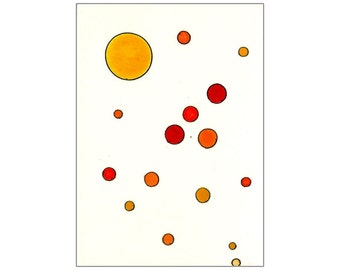 Red, Orange & Yellow Circles and Dots - Original Tori Amos Inspired Watercolor ACEO