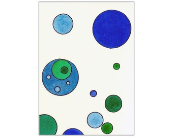 Tori Amos Inspired Original ACEO Watercolor Painting - Green and Blue Circles