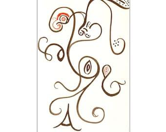 Brown & Orange Original 4x6 Gouache Painting - Free Shipping
