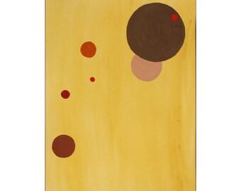 Brown, Umber, Orange & Red Geometric Circles - Original Gouache 9x12 Modern Art Painting - Free Shipping