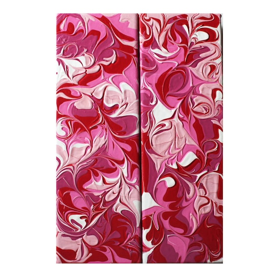 Bright Pink, White & Magenta Abstract Art - Set of 2 Acrylic Paintings - Free Shipping
