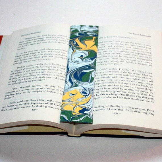 Hand Painted Acrylic Art Bookmark - Forest Green, Butter Yellow, Navy Blue & Metallic Silver