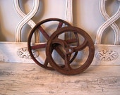 Pair of Vintage Cast Iron Wheels
