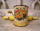 Vintage Flour Sifter and Rolling Pin - Sunny Yellow