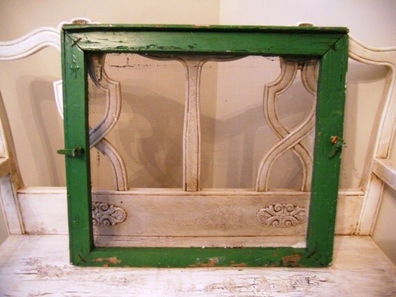 Rustic Farmhouse Window Screen - Kelly Green