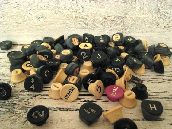 70 Vintage Green, Cream and Black Typewriter Keys