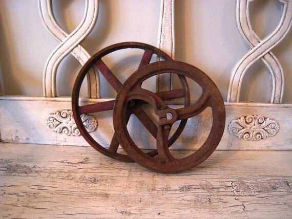 Pair of Vintage Cast Iron Wheels