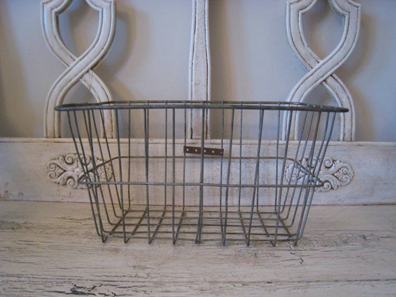 Vintage Wire Bike Basket - Industrial Storage
