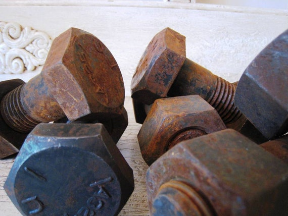 Vintage Scrap Nuts and Bolts - Huge - 4.5 inches long