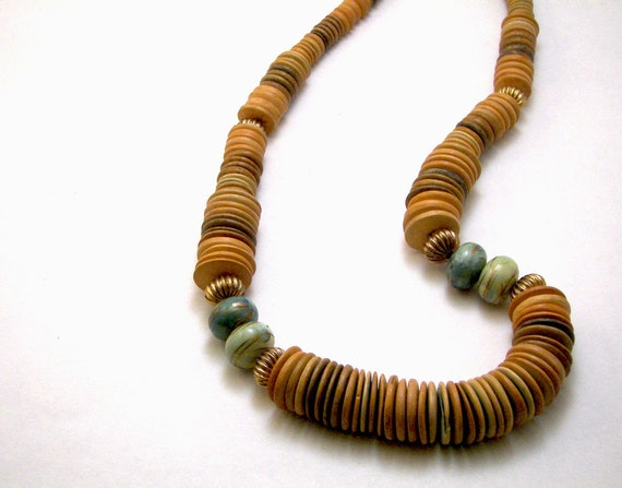 Vintage Natural Tan and Teal Green Tribal Necklace