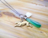 coney necklace - brass rabbit charm, emerald green onyx, carved white moonstone leaf, oxidized sterling silver