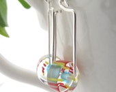 RESERVED FOR AGNES - wheel earrings - candystriped furnace glass, sterling silver