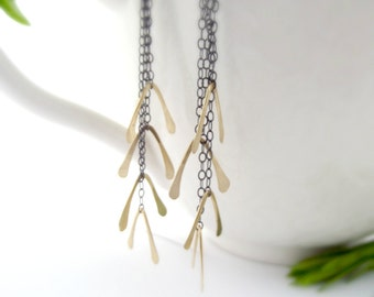 helicopter earrings - oxidized sterling silver, brass
