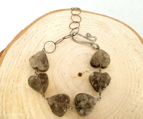 rough romance bracelet - grey druzy gemstone hearts and oxidized sterling silver