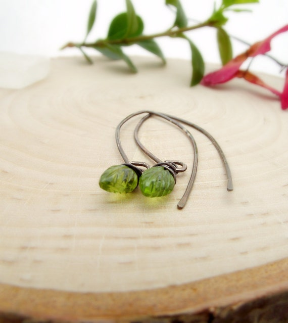 daphne earrings - carved peridot leaf briolettes, oxidized sterling silver - august birthstone