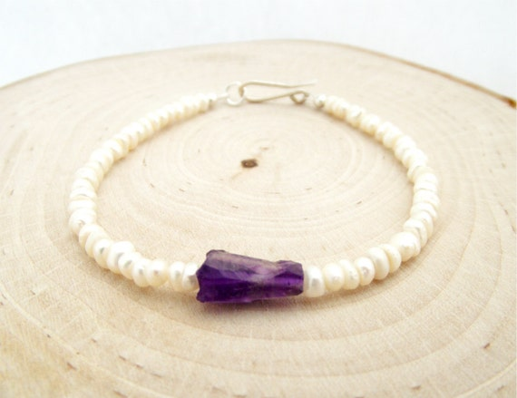lucretia bracelet - raw amethyst nugget, white freshwater pearls, and sterling silver