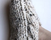 """reserved for """"xkels81"""" OATMEAL WHITE, Warm, knitted, handmade, stylish slipper in size small"""