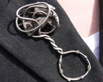 Contemporary Serpentine fibula Hand Cafted Sulptural  antique silver brooch or Scarf Pin by Michael Tarillion FREE SHIPPING USA