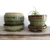 Vintage Ceramic Planters - Mid Century Planter, Green, Pottery, Gardening