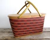 Vintage Picnic Basket - Red Woven Picnic Basket with Metal Handles, Spring, Kitsch, Storage