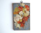Vintage Canvas Painting of Flowers - Oil Painting, Pastels, Orange and Red