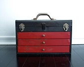 Vintage Metal Toolbox - Red Tool Box with Drawers and Handle Industrial Storage Machinist