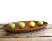 Vintage Teak Wood Serving Tray - Mid Century Design Table Platter , Dish , Retro , Kitchen , Plate