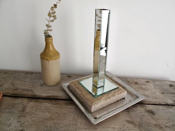 Vintage Mirror Vase - Candle Holder, Hollywood Regency, Art Deco Mirror
