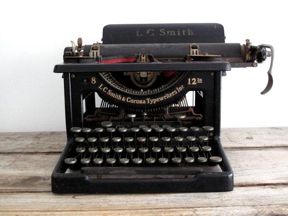 Antique Typewriter - Vintage LC Smith and Corona Typewriter