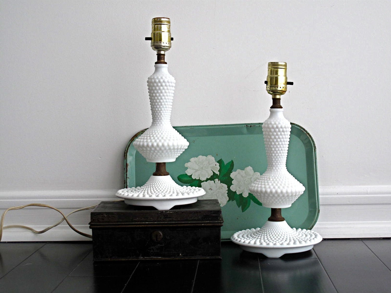 sale vintage milk glass lamps pair of lamps by snapshotvintage