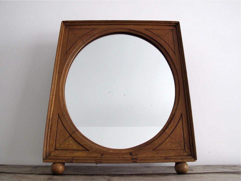 Reserved framed mirror vintage round vanity by snapshotvintage for Antique vanity with round mirror