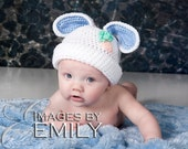 White Bunny Hat for boy or girl with blue and white ears (fits newborn to adult)